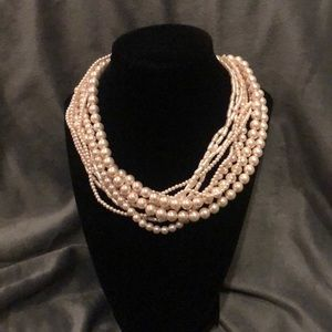 Faux Pearl Multiple Strand Necklace